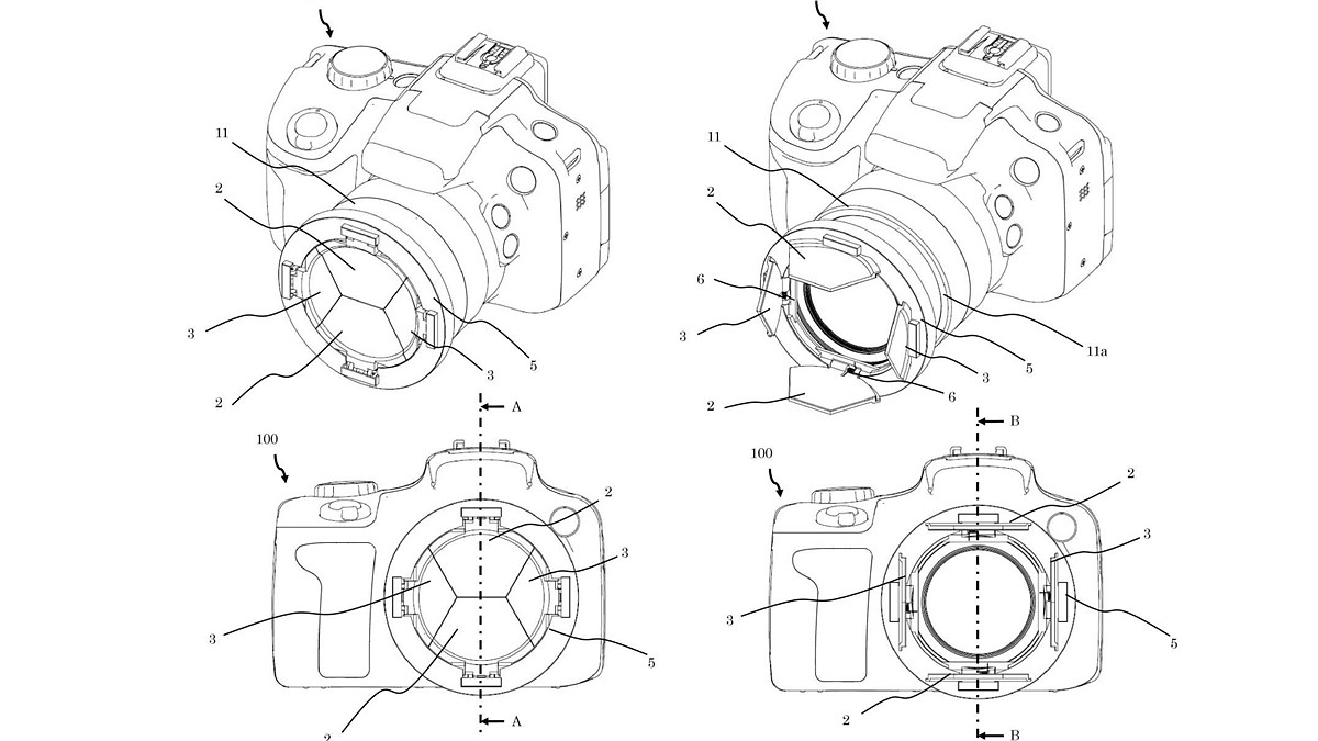 Canon files patent application for barndoor-style lens cap that you can't lose