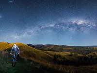 Behind the scenes: Mountain bike self-portrait under the Milky Way