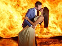This crazy fire-and-water wedding portrait was shot in a single exposure
