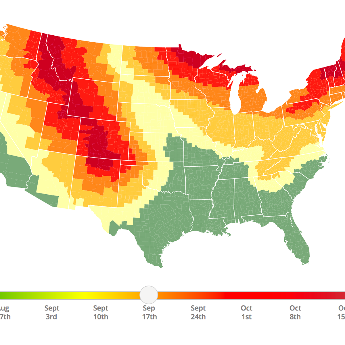 This interactive fall foliage prediction map helps photographers ...