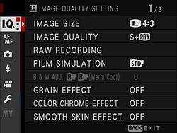Fujifilm GFX 100 menu