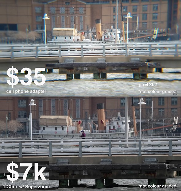 Silly (but fun) comparison: $7000 DSLR kit vs $35 smartphone zoom lens