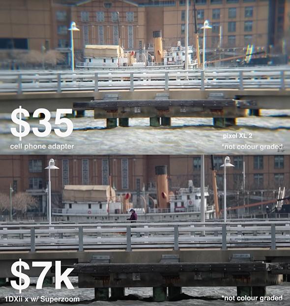 Silly (but fun) comparison: $7000 DSLR kit vs $35 smartphone zoom