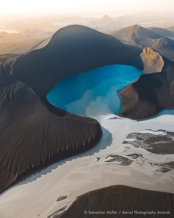 Aerial Photographer of the Year 2020, 1st Place, Landscapes: 'Skyggnisvatn' by Sebastian Müller (Switzerland)