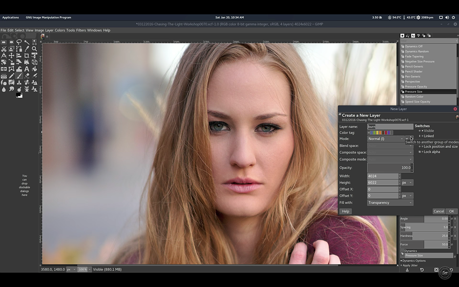 Demo: How to edit professional beauty images with GIMP on Linux