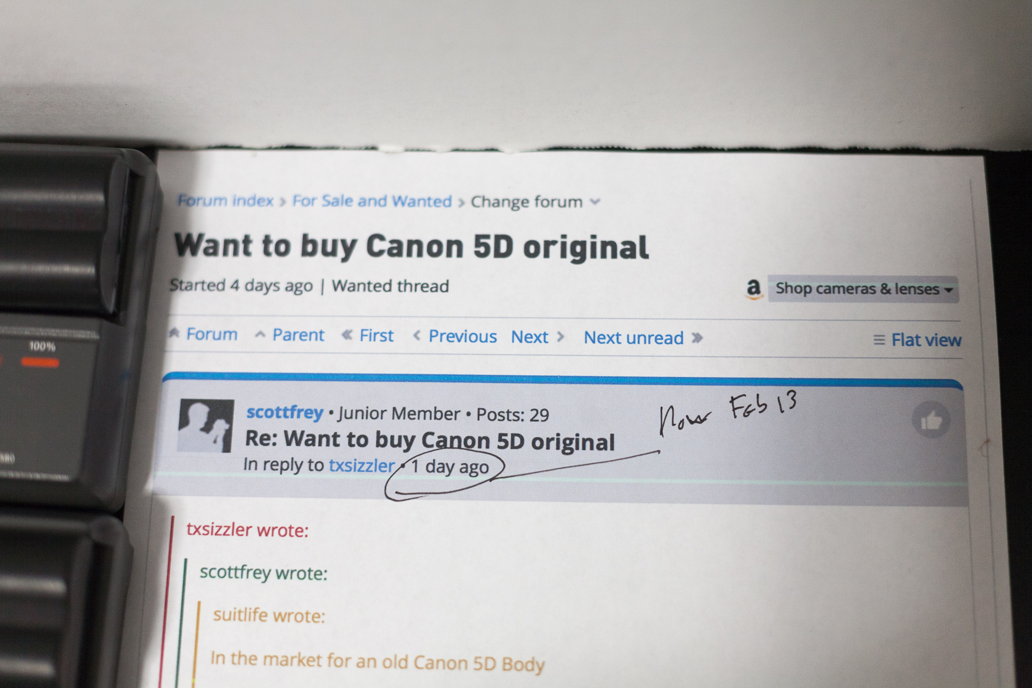 Re: Want to buy Canon 5D original: For Sale and Wanted Forum