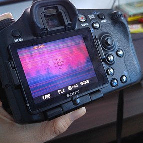 Sony A77 flickering lines on LCD & Error