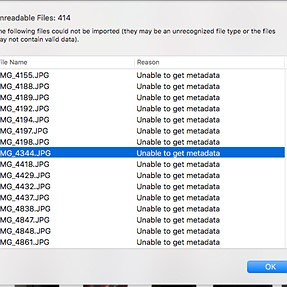 Either a file naming error, or possible corrupted photos