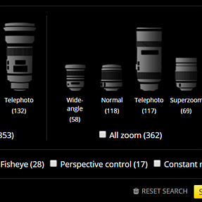Lens feature search database BUG affecting 88 lenses and ALL mounts