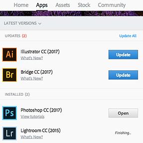 Adobe CC frozen updating on MacBook Air