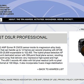 "TIPA AWARDS (2017) ""BEST DSLR PROFESSIONAL"" -- Sony A99mk2"
