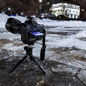 A mini portable tabletop tripod is very useful in a cold winter!