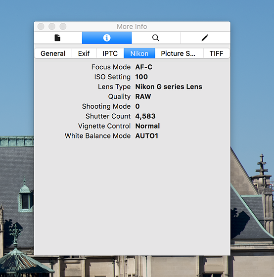 Where is the shutter count in this EXIF?: Nikon FX SLR (DF