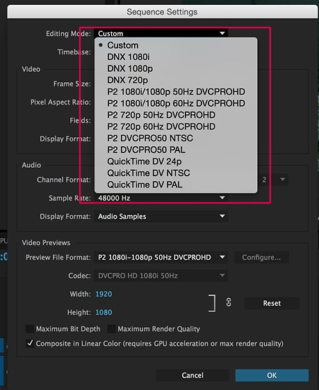 how to change sequence settings in premiere