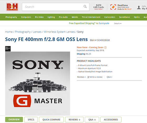 Sony 400mm f/2.8: Sony Alpha Full Frame E-mount Talk Forum: Digital ...