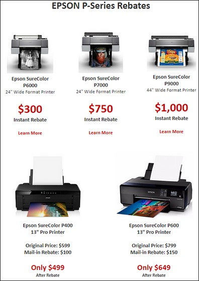 Which Epson printers are on rebate, and which not: Printers
