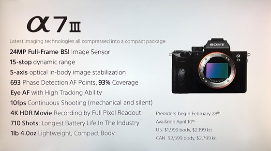 Re: A7III: Tomorrow is supposedly the big day: Sony Alpha
