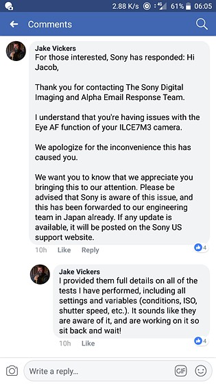Re: Seems like Sony is aware of the issue: Sony Alpha Full