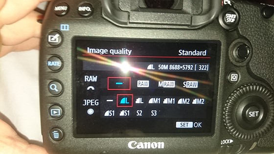 Cant seem to change jpeg to raw on my new 5ds r: Canon EOS