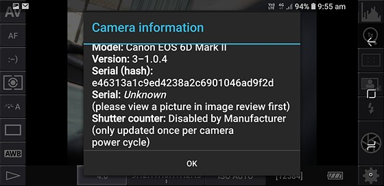 How to read shutter count on Canon EOS 6D Mark II?: Canon