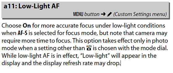 Re: What is low light AF a11 actually doing? (Z6): Nikon Z