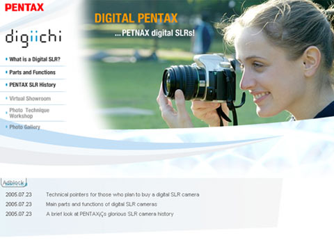 Pentax DSLR website